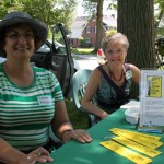 Lauren Pittelli and Darlene Van Meir manning the AAUW table at Elmhurst Garden Walk